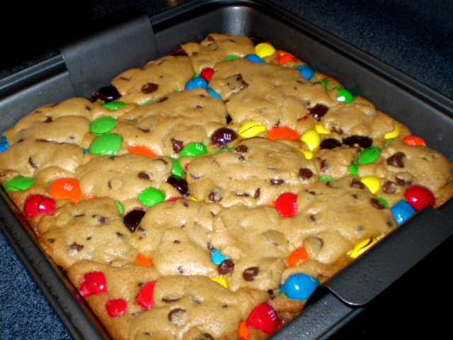 Mega M&M Chocolate Chip Cookie Bars