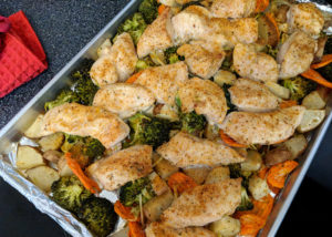 One Pan Mango Habanero Baked Chicken & Vegetables