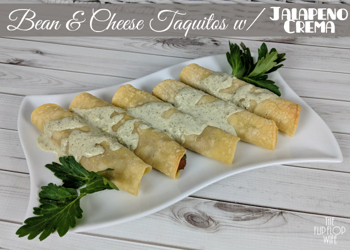 Taquitos Bean Cheese Jalapeno Crema Recipe